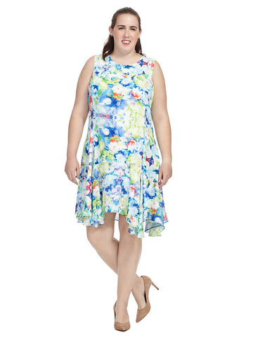 Swing Dress In Mixed Florals