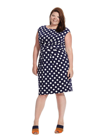 Ruched Dress In Polka Dot Print
