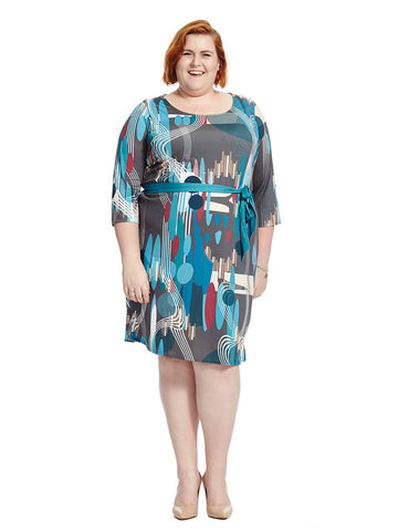 Mod Geo Print Belted Shift Dress