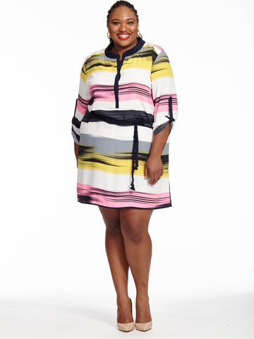 Myra Dress In Multi Stripe