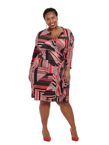 Geometric Printed Faux Wrap Dress