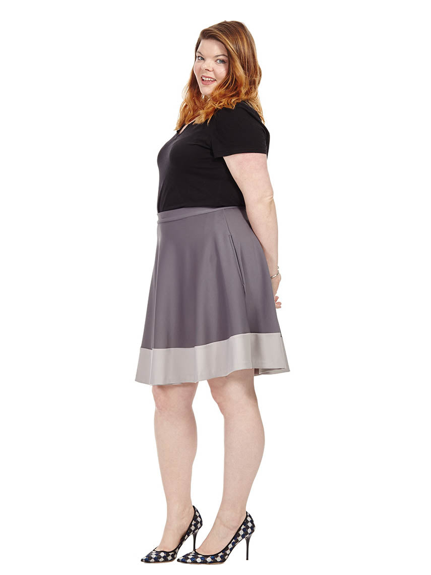 2057219087 Shades Of Grey Colorblock Skater Skirt | Jete | Gwynnie Bee Rental  Subscription