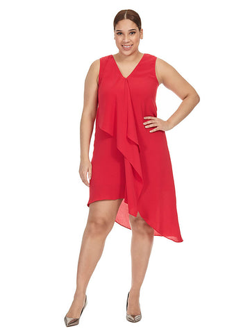 Cascade Dress In Red Flare
