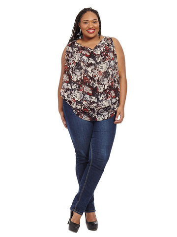 Cowlneck Sleeveless Top In Black Dahlia Print