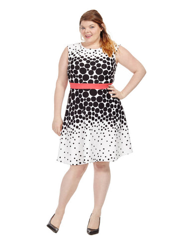 Flare Dress In Mixed Polka Dot