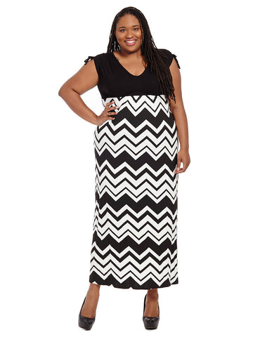 Chevron Print Maxi Dress