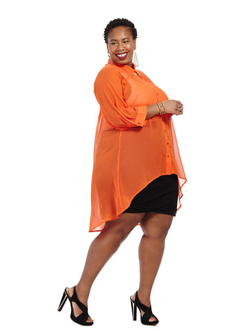 Open Back High Low Tunic In Tangerine