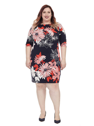 Floral Sheath Dress In Navy