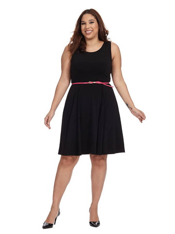 Black Dress With Fuchsia Pink Belt Jessica Howard Gwynnie Bee