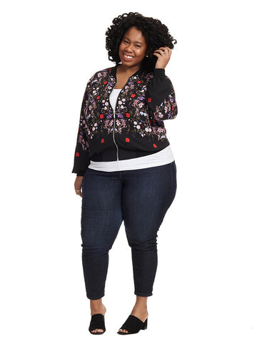 Nightfall Floral Bomber Jacket