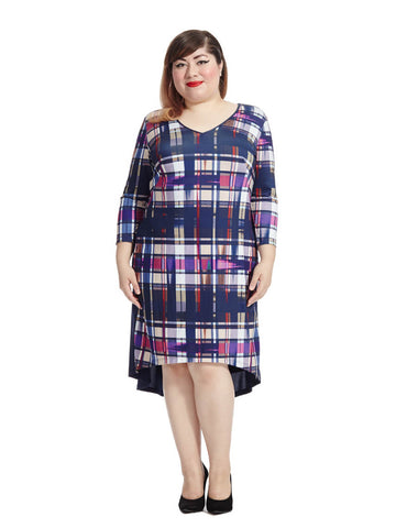 Plaid Printed Hi-Lo Dress