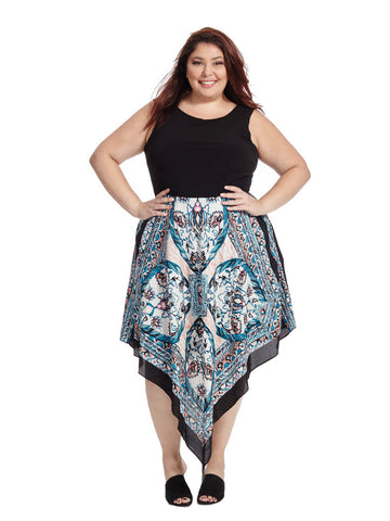 Handkerchief Hem Dress In Paisley Print