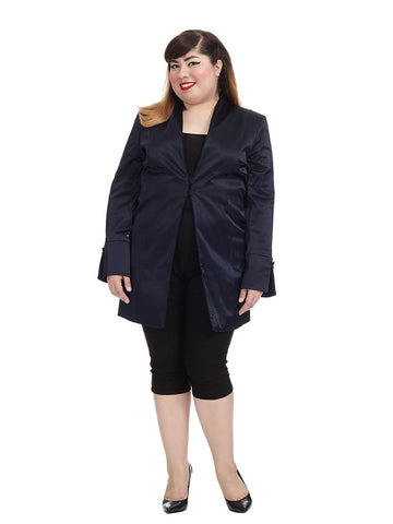 Midnight Blue Satin Long Jacket
