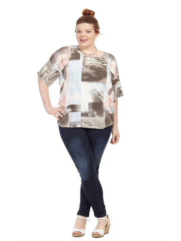 Spring Abstract Short Sleeve Blouse