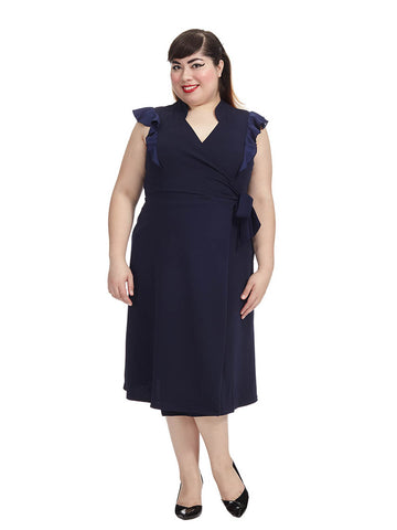 Darling Flounce Wrap Dress In Navy