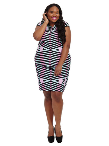 Bodycon Dress In Brushstroke Print