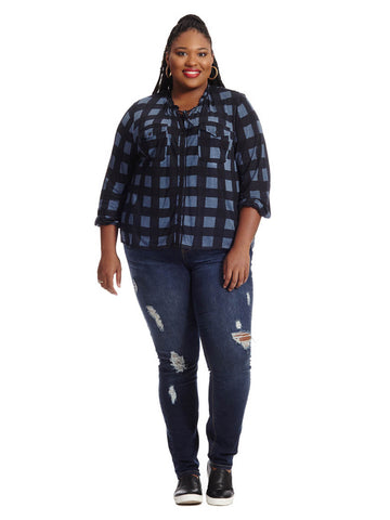 Checkered Button Front Shirt  In Navy