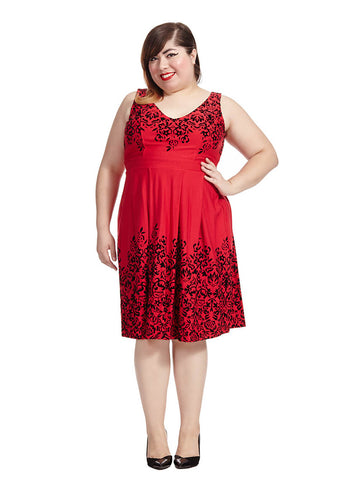 Border Flocked Dress In Red Velvet
