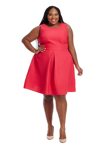 Fit & Flare Dress With Front Pleat