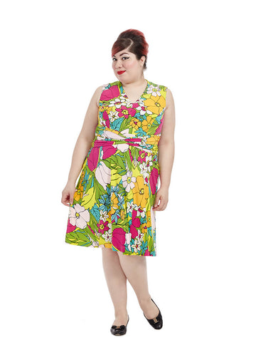 Retro Floral Fit & Flare Dress