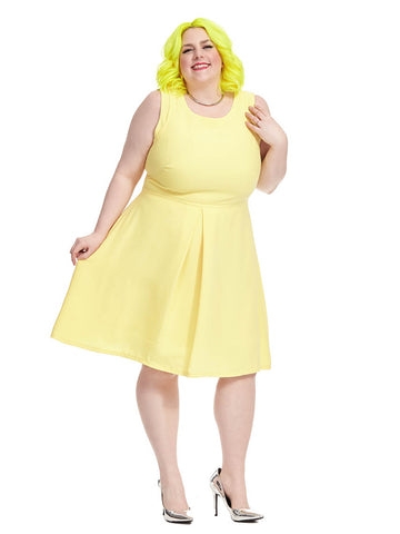 Fit & Flare Dress In Sunshine Yellow