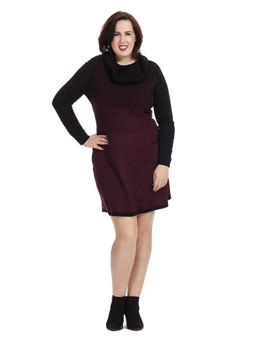 Cowl Neck Sweater Dress In Claret