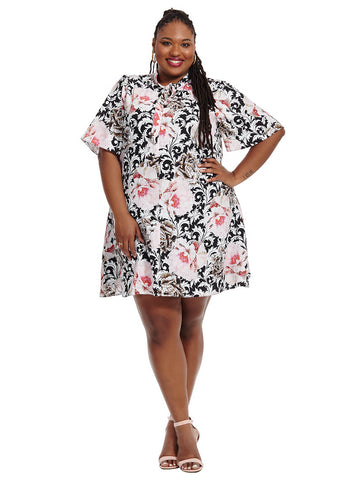 Dress In Baroque Rose Print