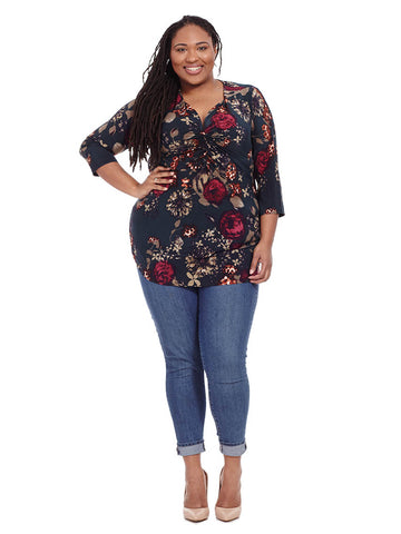 Erika Floral Print Blouse In Blue