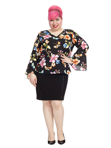 Butterfly Garden Surplice Top