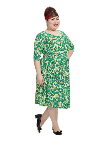 Penelope Dress In Green Floral Print