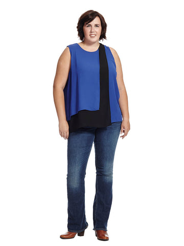Colorblock Layered Blouse In Optic Blue