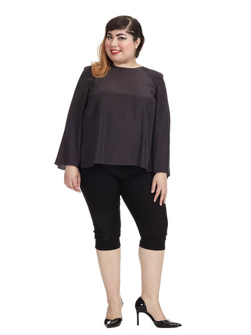 Pipper Slit Back Blouse In Charcoal