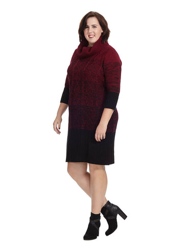 Cowl Neck Sweater Dress In Bordeaux