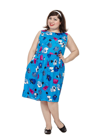 Blue Poppy Printed Fit And Flare Dress