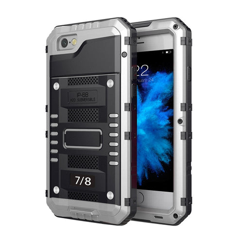 Canyoneering Waterproof Metal Phone Case Shell for iPhone 7/8 (Silver)
