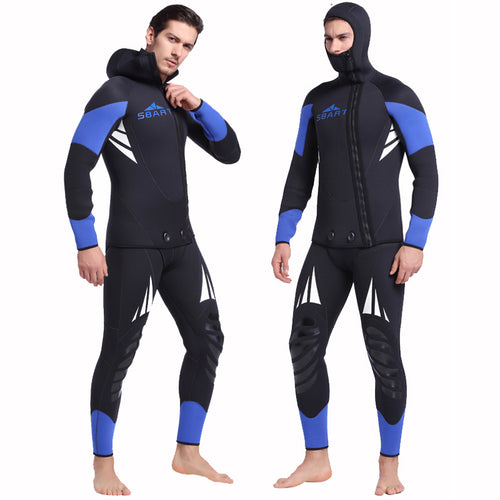 Premium Canyoneering Neoprene 5mm 2-Piece Wetsuit Black / Blue Full Body