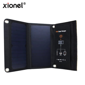 Xionel 15W Portable Solar Charger Waterproof Power Bank - Dual USB Ports