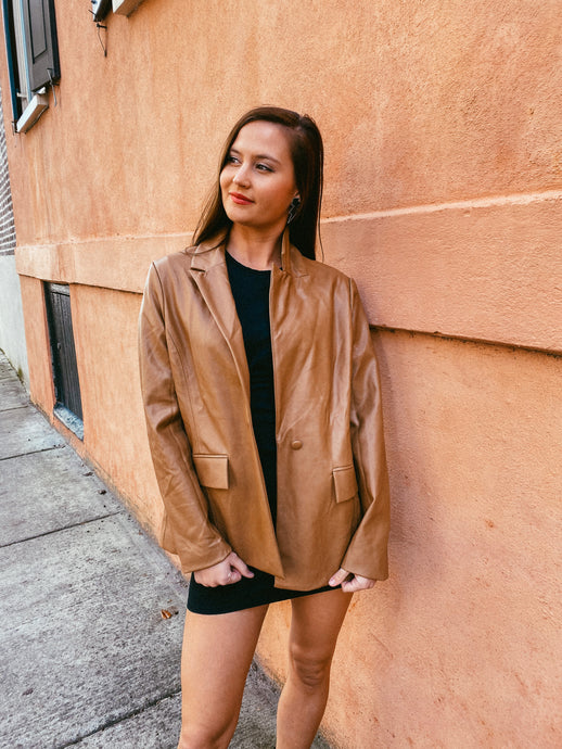 Camel Faux Leather Coat