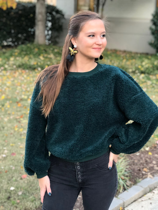 Sit Back Cropped Green Sweater
