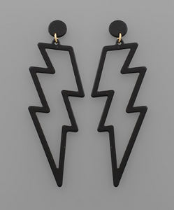 Thunderbolt Earrings - Black