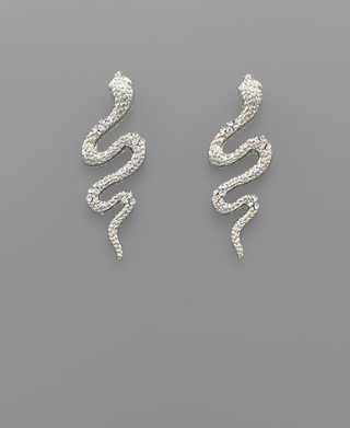 Baby Snake Earrings - Silver