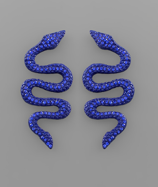 Cobalt Snake Earrings