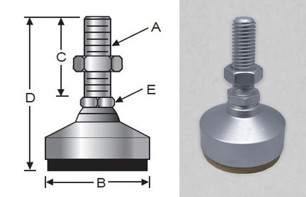 Anti-Vibe Vibration Control, Steel, Stud, Heavy-Duty, Metric