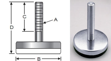 Glide-Rite, Steel, Elastomer Base, Inch