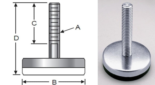Glide-Rite, Steel, Elastomer Base, Metric