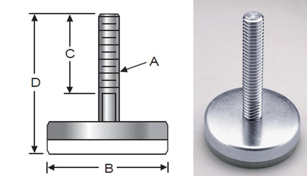 Glide-Rite, Steel, Nylon Base, Metric
