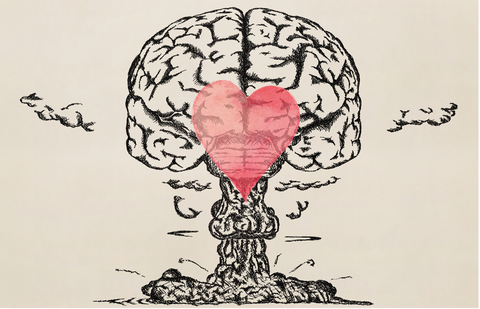 Exploding brain with love heart