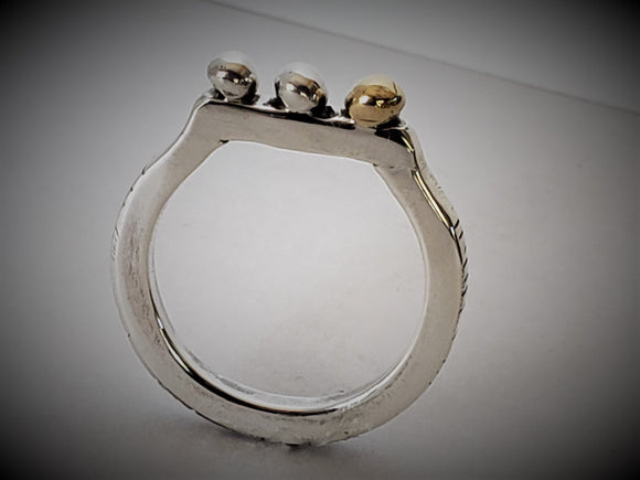Sterling Silver and 18 K Gold Ring Size 7