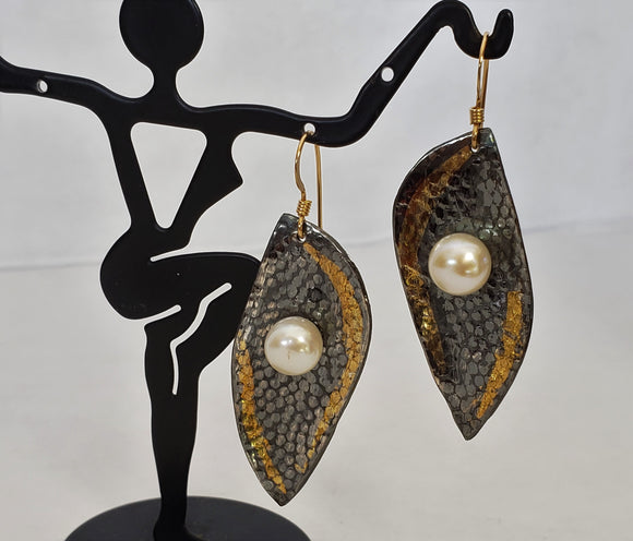 Fine Silver Keum Boo Earrings with Pearls