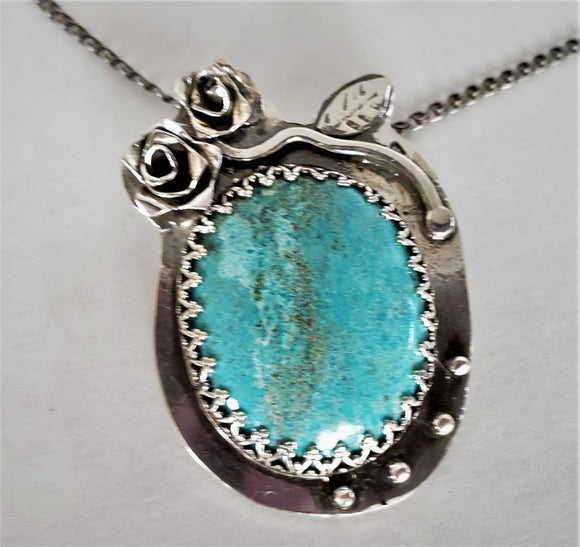 Antiqued Sterling Silver Pendant with Turquoise and Roses